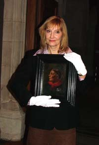 Helen Rappaport with the Seacole portrait. Click to enlarge.